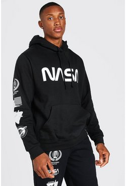 Black NASA Sleeve Print License Hoodie