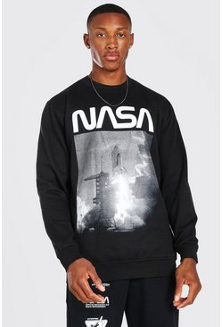 Black NASA Rocket launch Print License Sweater
