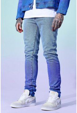 Ice blue Skinny Rigid Stacked Ombre Jean