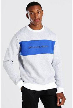 Grey marl Official MAN Colour Block Sweater