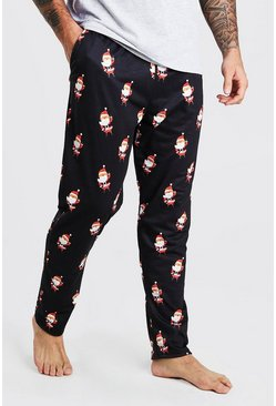 Black MAN Novelty Santa Christmas Lounge Joggers