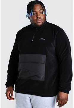 Black Plus Size MAN Nylon Pocket Funnel Top