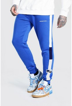 MAN Official Skinny Colour Block Joggers, Blue