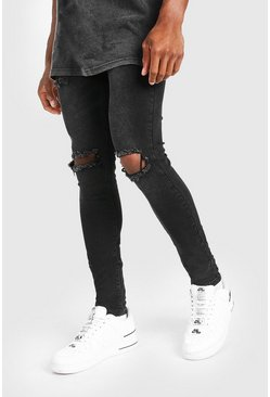 Super Skinny Bleached Distressed Jeans, Washed black