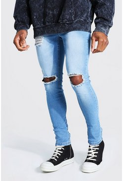 Super Skinny Jeans in gebleichter Destroyed-Optik, Blassblau