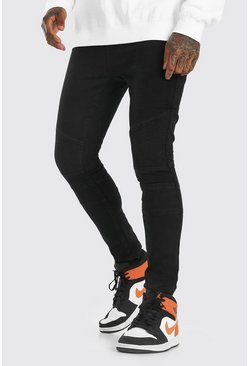 Black Super Skinny Biker Jean With Distressing