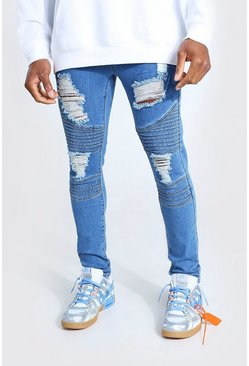 Super Skinny Biker Jeans im Destroyed-Look, Mittelblau