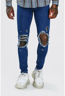 Mid blue Super Skinny Jeans With Distressing