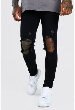 Super Skinny Jeans in Used-Optik, Schwarz