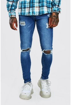 Super Skinny Jeans in Used-Optik, Blassblau