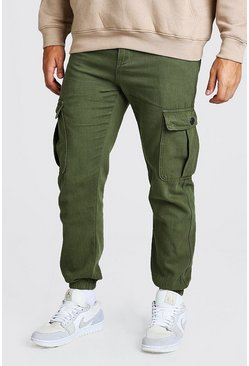Khaki Twill Loose Fit Cargo Trousers With Popper Pocket
