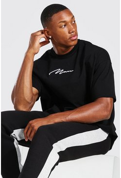 Black Oversized MAN Signature 3D Embroidered T-Shirt
