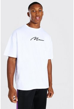 Oversized MAN Signature 3D Embroidered T-Shirt, White