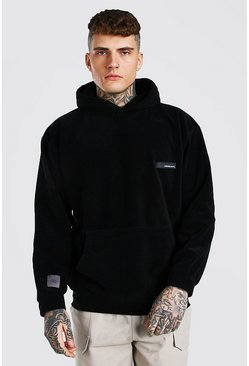 Oversized MAN Official Polar Fleece Hoodie, Black