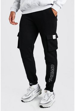 Slim Fit Jersey Cargo Jogger With Official Print, Black