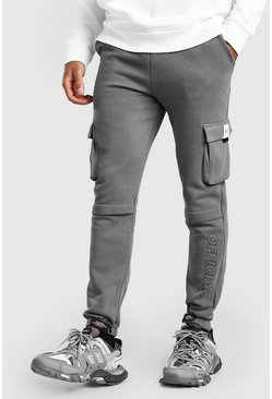Slim Fit Jersey Cargo Jogger With Official Print, Slate