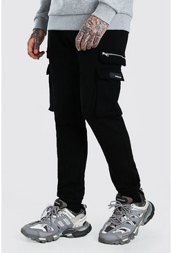 Skinny Fit Cargo Jogger With Zips, Black