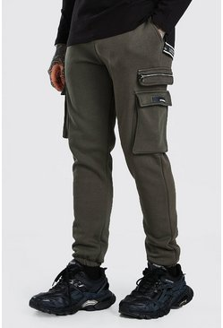 Khaki Slim Fit Cargo Jogger With Zips