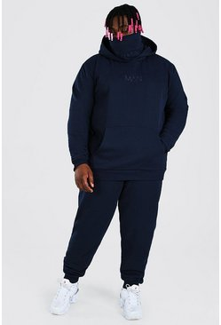 Plus Size MAN Official Snood Tracksuit, Navy