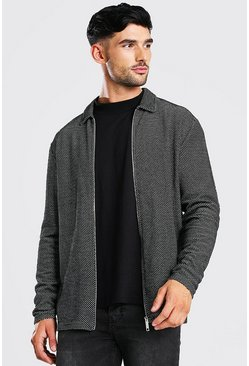 Textured Knitted Zip Through Harrington Jacket, Black