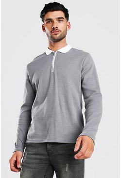 Long Sleeve Contrast Collar Knitted Polo, Slate grey