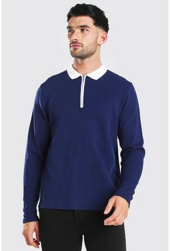Long Sleeve Contrast Collar Knitted Polo, Navy