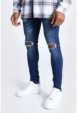 Super Skinny Bleached Distressed Jeans , Washed indigo