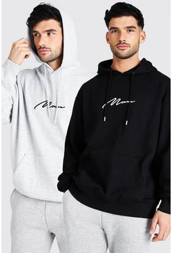 Lot de 2 sweats à capuche oversize - MAN, Multi