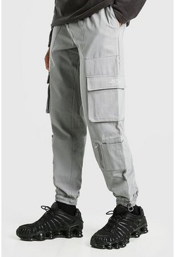 Dark grey Twill Pocket Cargo Trouser With Bungee Cords