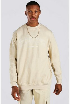 Sand Loose Fit Brooklyn Print Sweatshirt