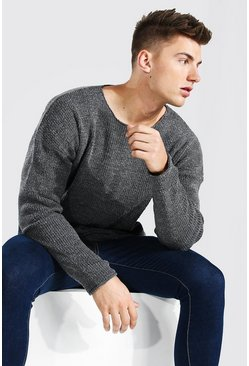 Grey Oversized Textured Knitted Jumper