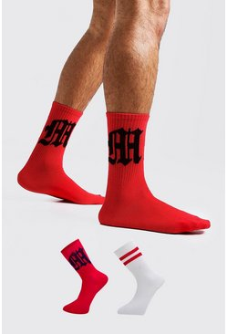 Mens Red Gothic M Two Pack Socks