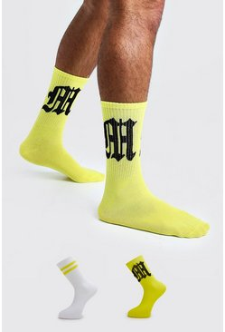 Mens Yellow Gothic M Two Pack Socks