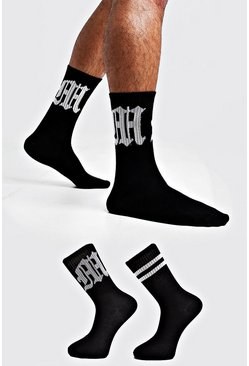 Mens Black Gothic M Two Pack Socks
