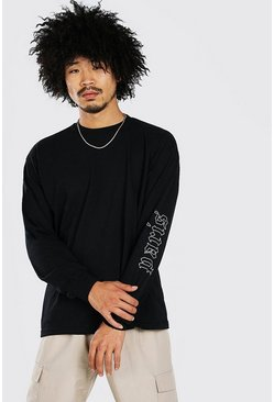 Black Loose Fit Paris Sleeve Print LS T-Shirt
