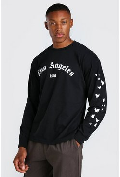 Black Loose Fit Los Angeles Sleeve Print LS T-Shirt