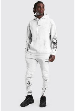 Overdye Original MAN Graffiti Hooded Tracksuit, Light grey