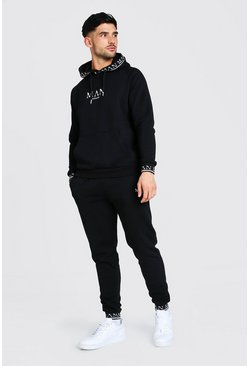 Black MAN Roman Hooded Rib Tracksuit