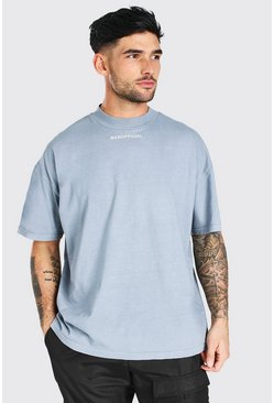 T-shirt oversize surteint - Official MAN, Light grey