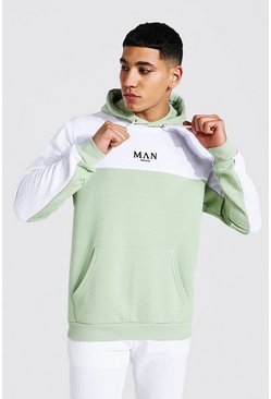 Sage Man Roman Colour Block Hoodie With Back Tape