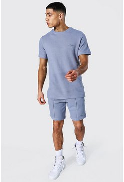 Slim Fit Man Pique Tee & Pintuck Short Set, Blue