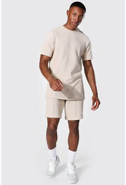 Slim Fit Man Pique Tee & Pintuck Short Set, Stone
