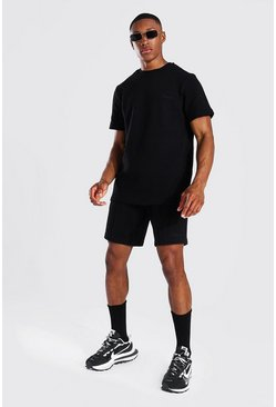 Black Slim Fit Man Pique Tee & Pintuck Short Set