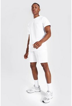 White Slim Fit Man Pique Tee & Pintuck Short Set