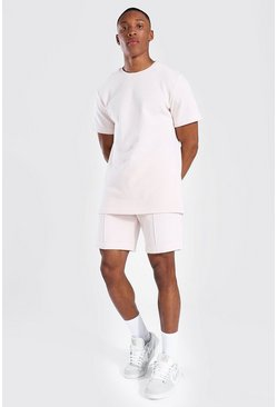 Pink Slim Fit Man Pique Tee And Pintuck Short Set