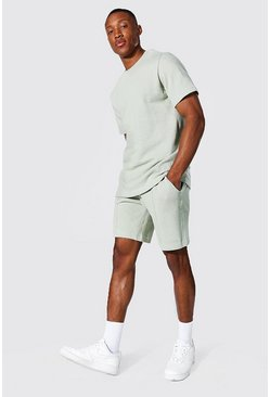 T-shirt slim et short - MAN, Sage