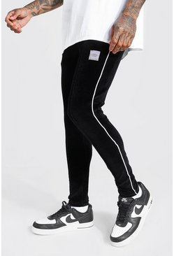 MAN Official Super Skinny Fit Velour Pintuck Jogger, Black