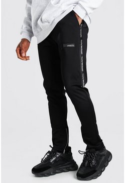 MAN Official Skinny Fit Tape Tricot Jogger, Black