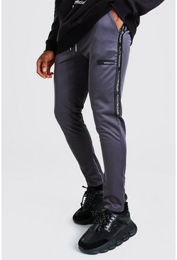 MAN Official Skinny Fit Tape Tricot Jogger, Slate