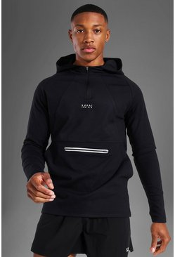 Black Man Active Running Muscle Fit Raglan Hoodie